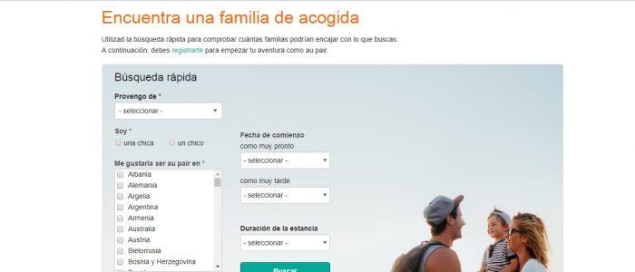 Página de AuPairWorld para encontrar familia Au Pair
