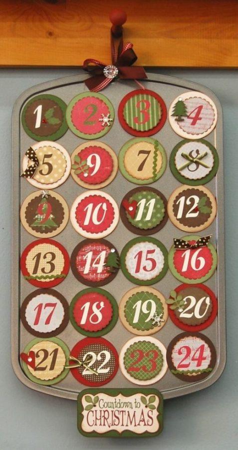 Calendario de Adviento con moldes de horno