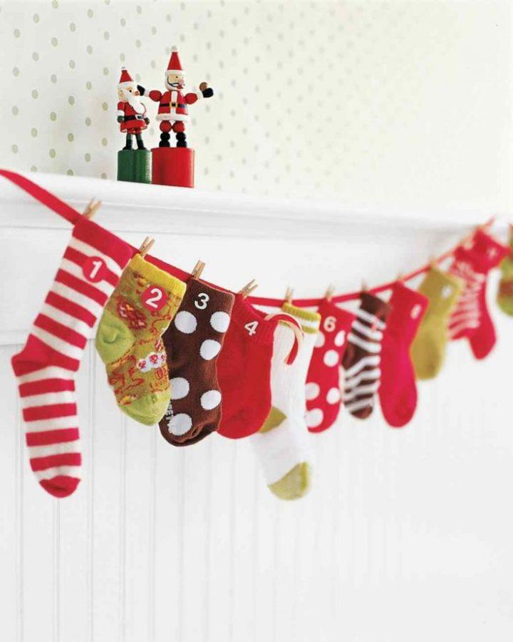 Calendario de Adviento personalizado con calcetines