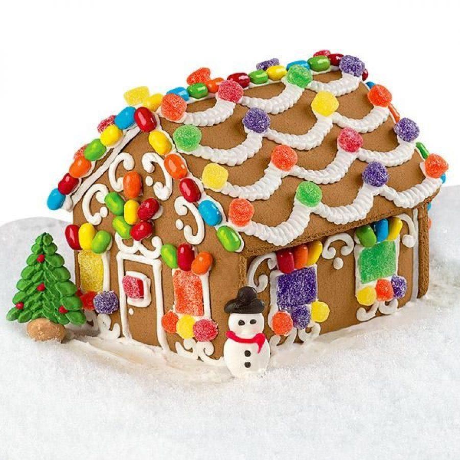 Receta casita de jengibre con golosinas para Navidad