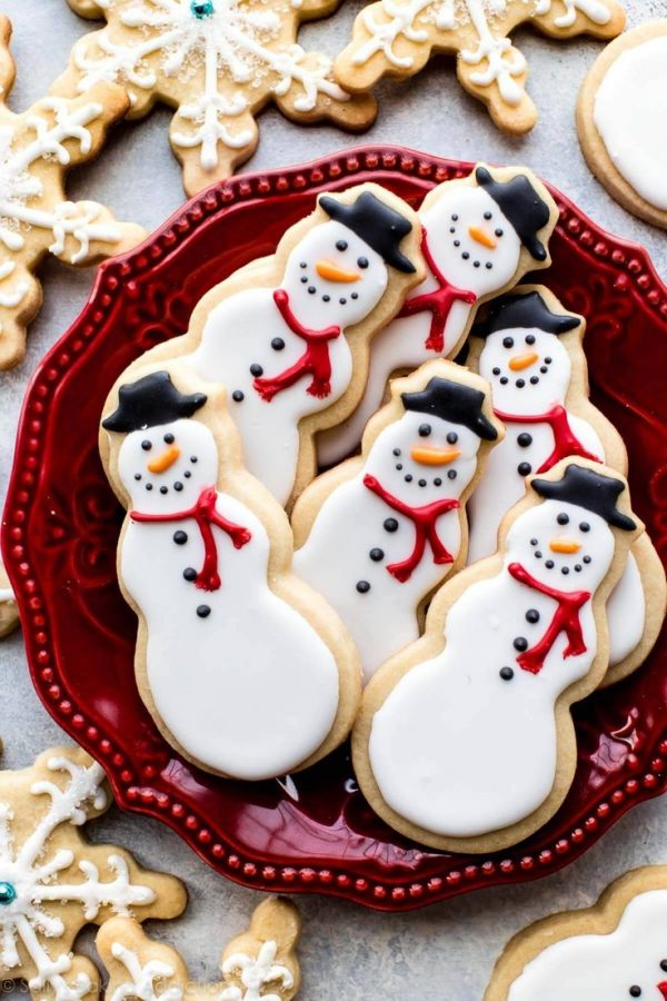 Galletas de jengibre de muñecos de nieve para Navidad